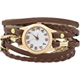 Charming Vintage Weave Wrap Leather Chain Bracelet Watch for Womens Ladies