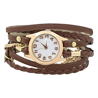 Charming Vintage Weave Wrap Leather Chain Bracelet Watch for Womens Ladies  (Brown)