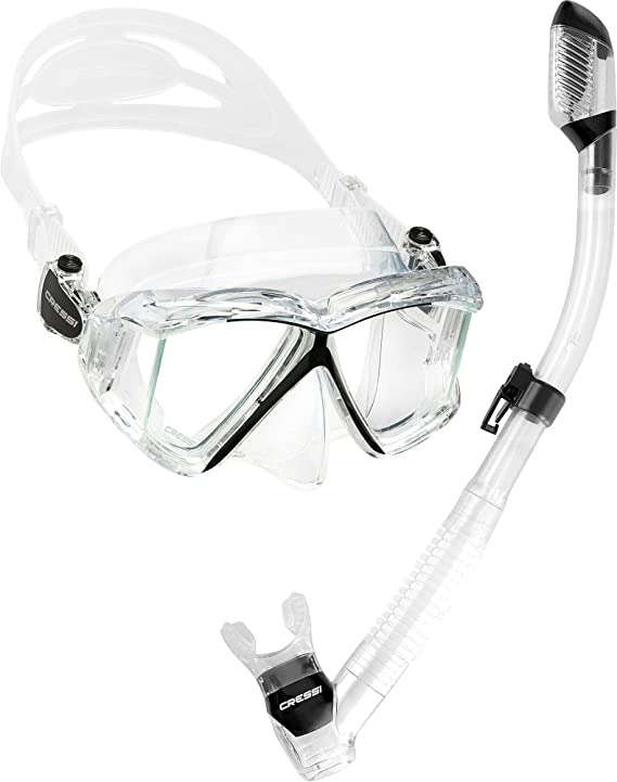 Cressi Panoramic Wide View Mask Dry Snorkel Set by Cressi