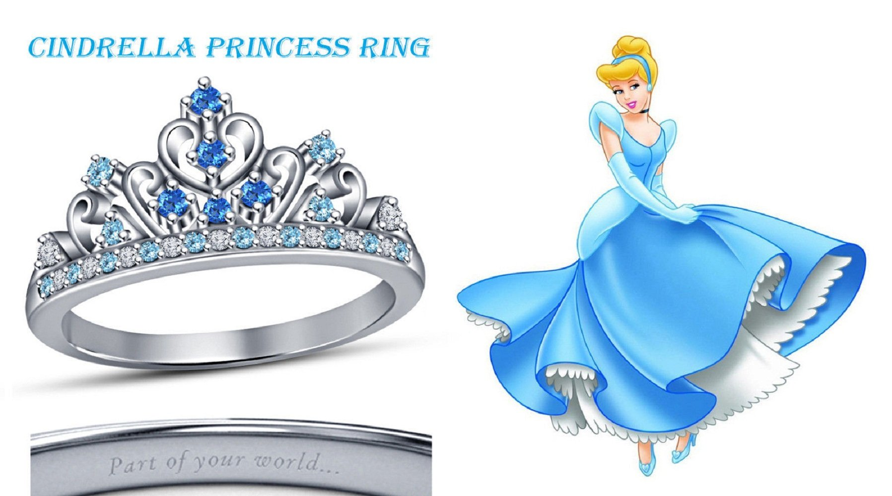 Lovely Round Cut Multi-Stone 14K White Gold Plated Cinderella Disney Princess Crown Engagement & Wedding Ring (6.5)