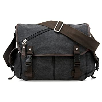 Amazon.com  Oct17 Men Messenger Bag School Shoulder Canvas Vintage  Crossbody Military Satchel Bag Laptop Black  GEARONIC INC. 77768a597d58d