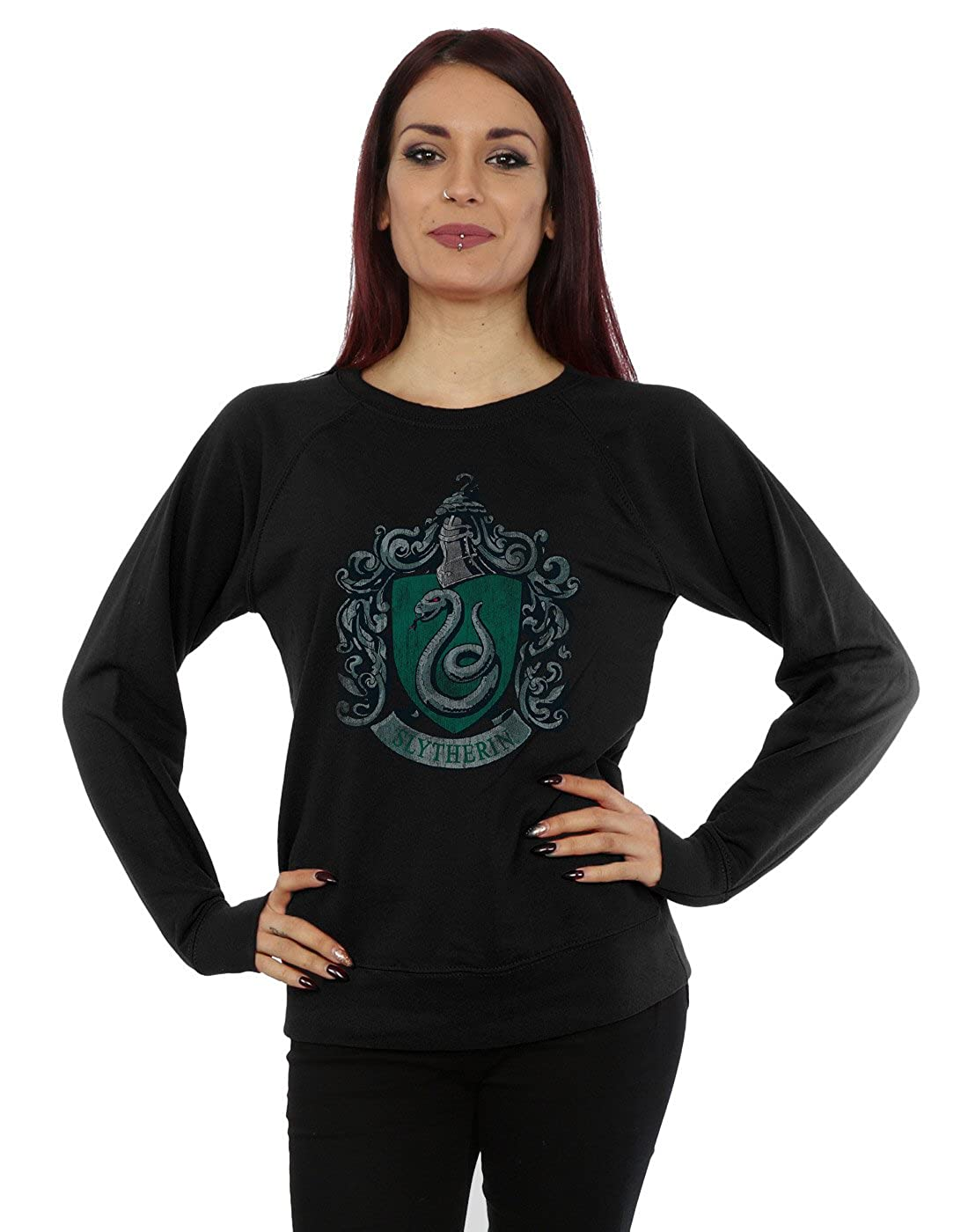 HARRY POTTER Mujer Slytherin Distressed Crest Camisa De Entrenamiento
