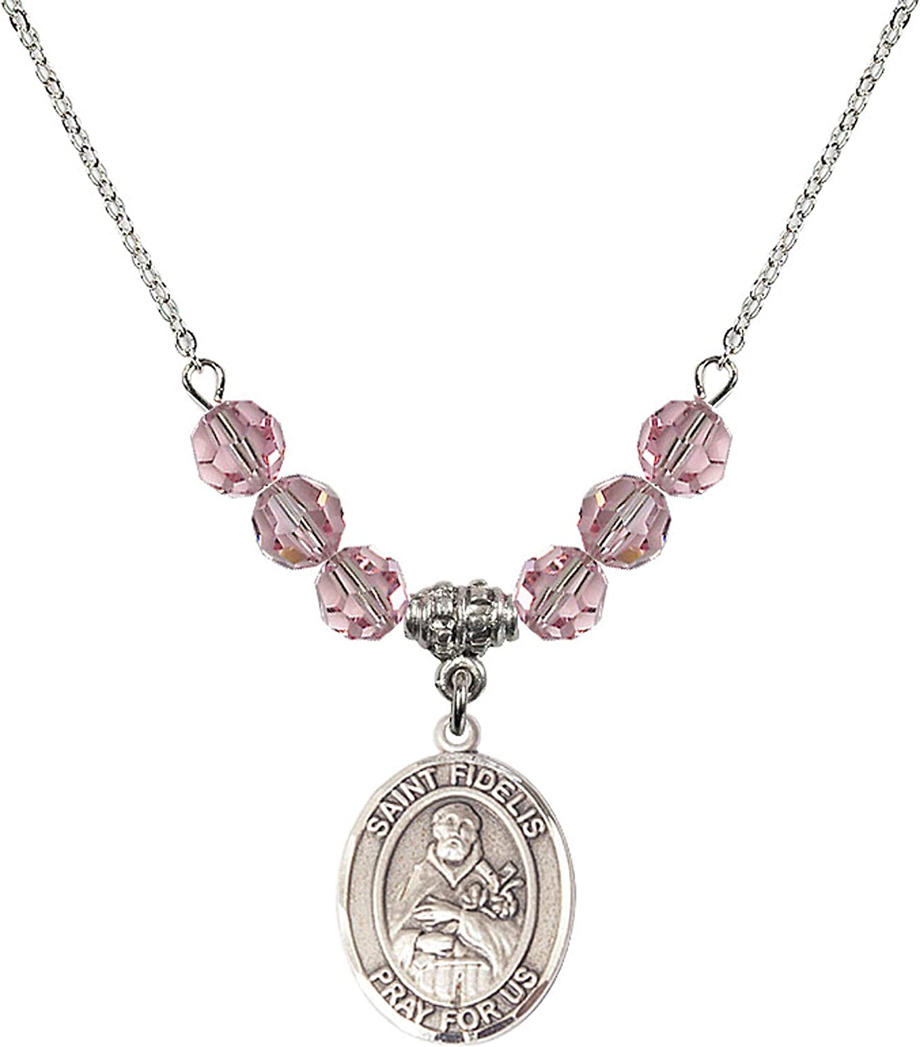 Bonyak Jewelry 18 Inch Rhodium Plated Necklace w// 6mm Light Rose Pink October Birth Month Stone Beads and Saint Fidelis Charm