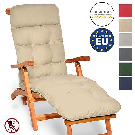 Beautissu Flair DC Cojín- colchoneta para Tumbona reclinable 200x50x8 cm con Relleno de gomaespuma - Natural