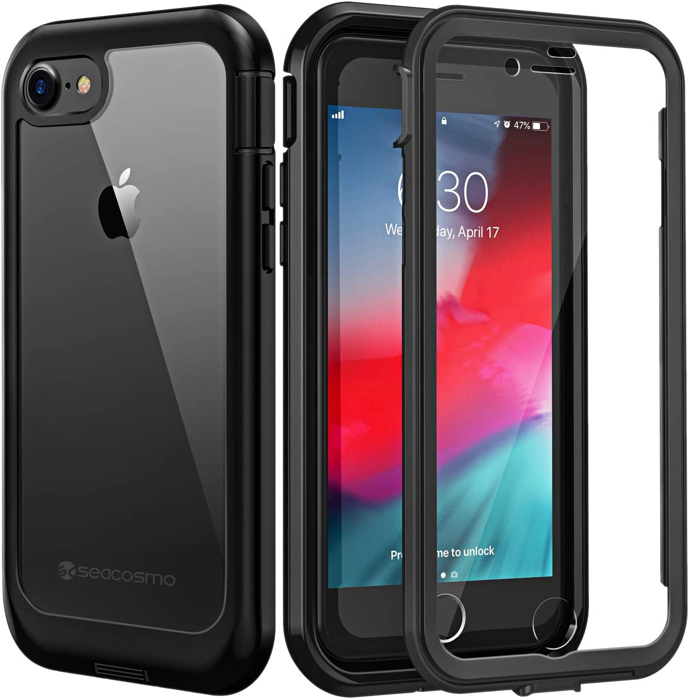 Amazon Com Seacosmo Iphone Se 2020 Case Iphone 7 Case Iphone 8 Case Dual Layer Clear Case With Built In Screen Protector Full Body Protective Bumper Case For Iphone 8 7 Se 2020 Clear Black