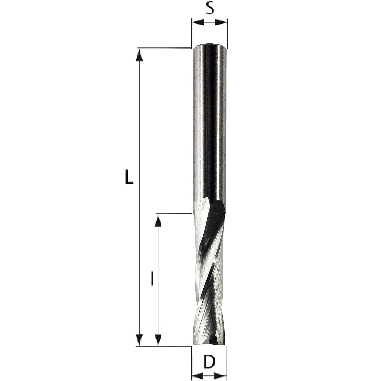 PWWU Fraise /à rainurer en spirale 2 dents Diam/ètre de tige de 8/mm 2 tranchants 2 D=4 S=8 l=16 L=60