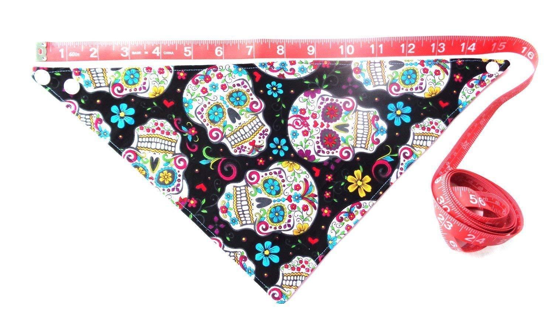 Sugar Skull Flowers Print Dog Bandana Cinco de Mayo Day of the Dead Neckwear Petwear Snap Closure