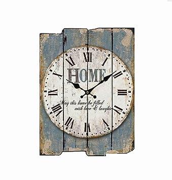 Tochange Retro Blau 12 Inch Holz Wanduhr, Nicht Tickende Stille Schlafzimmer  Hängende Uhr Tun Alte
