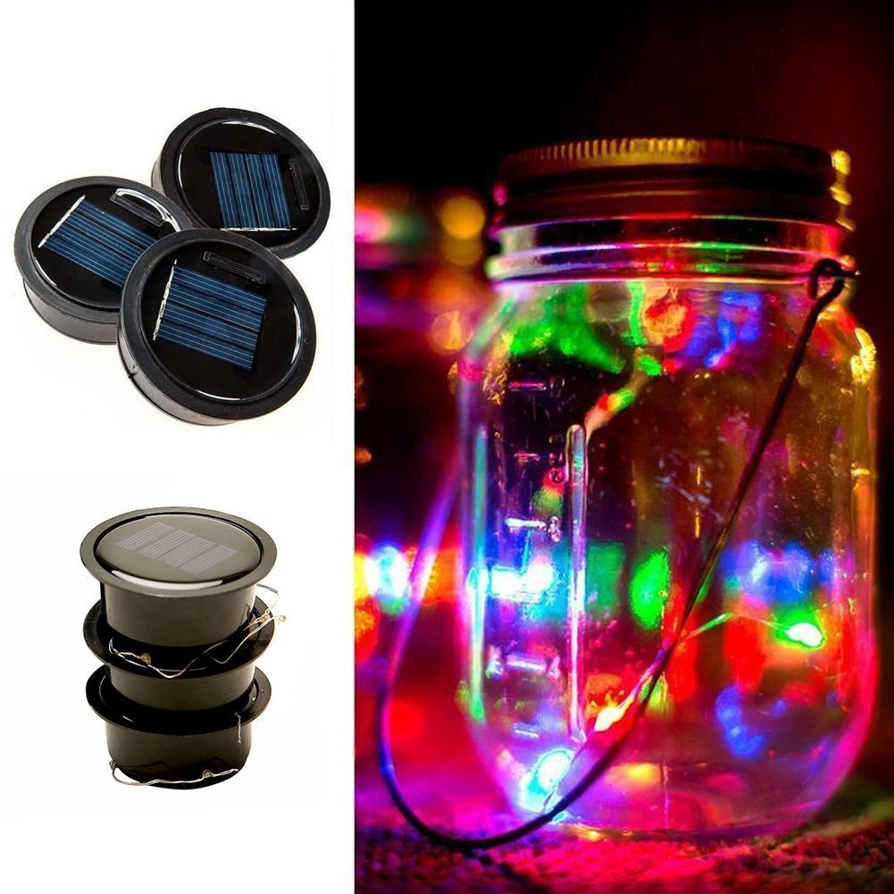 Artlalic 3 Pack - Mason Jar Lights Solar Lids, LED color Solar Fairy Lights for Home, Patio, Lawn, Garden, Party, Wedding, Christmas, Dating, and Holiday Decorations (Jars Not Included (assorted)