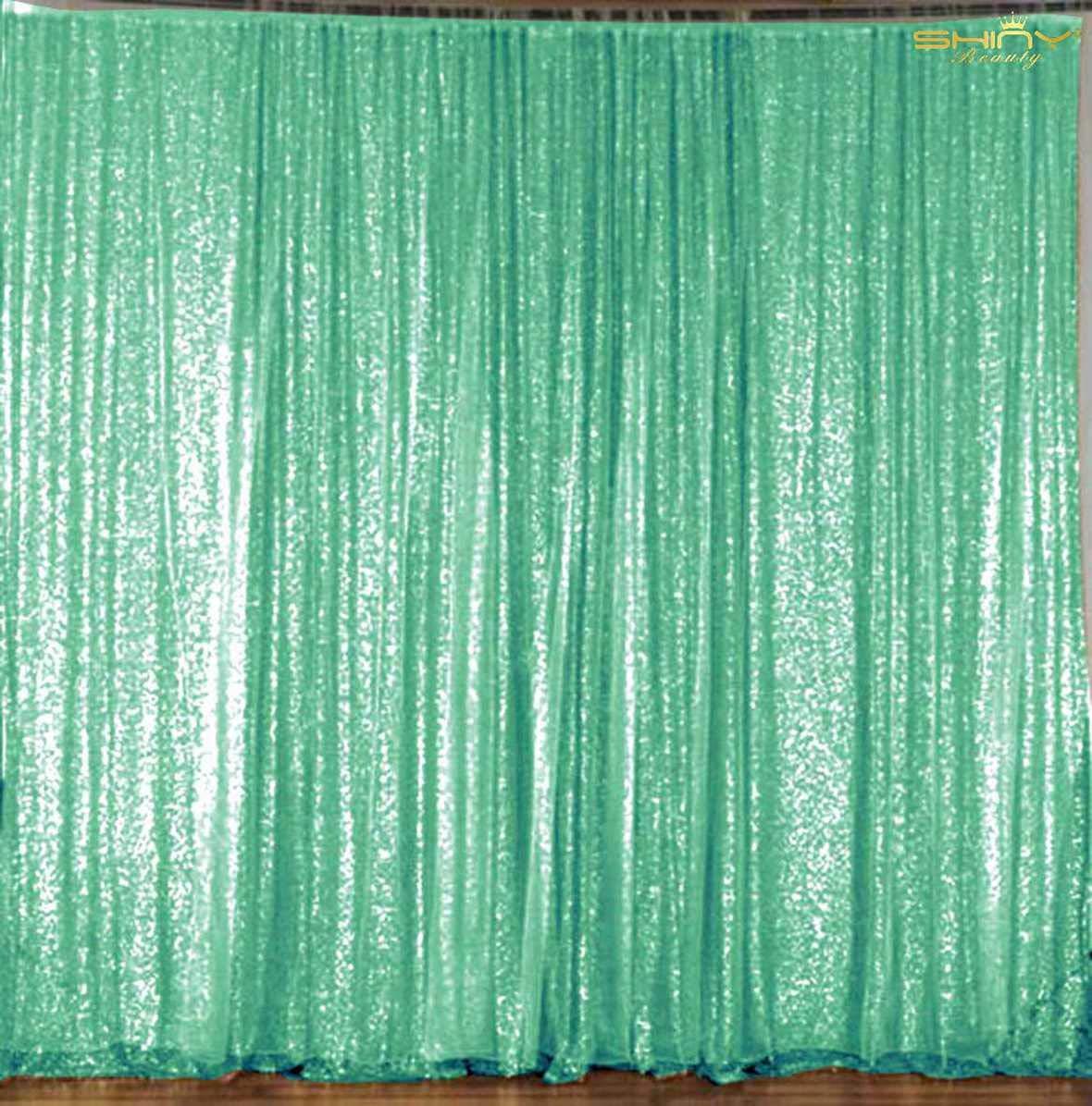 ShinyBeauty スパンコール背景カーテン 20フィートx10フィート スパンコール背景幕 ミント スパンコール 写真背景 ライトグリーン キラキラ 写真背景幕 Y1121 B07KQX2G65
