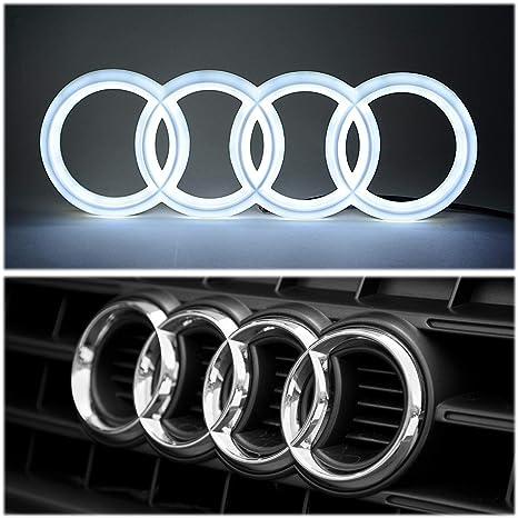 Brand New Audi A1 A3 A4 A5 A6 A7 Q3 Q5 Q7 Chrome WHITE LED Light Front  Grill Emblem Logo 27cm