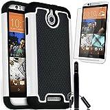 COVRWARE HTC Desire 510 - 3 in 1 Bundle - Armor Defender Series Protective Case [HD Film & Aluminum Stylus Pen] - White
