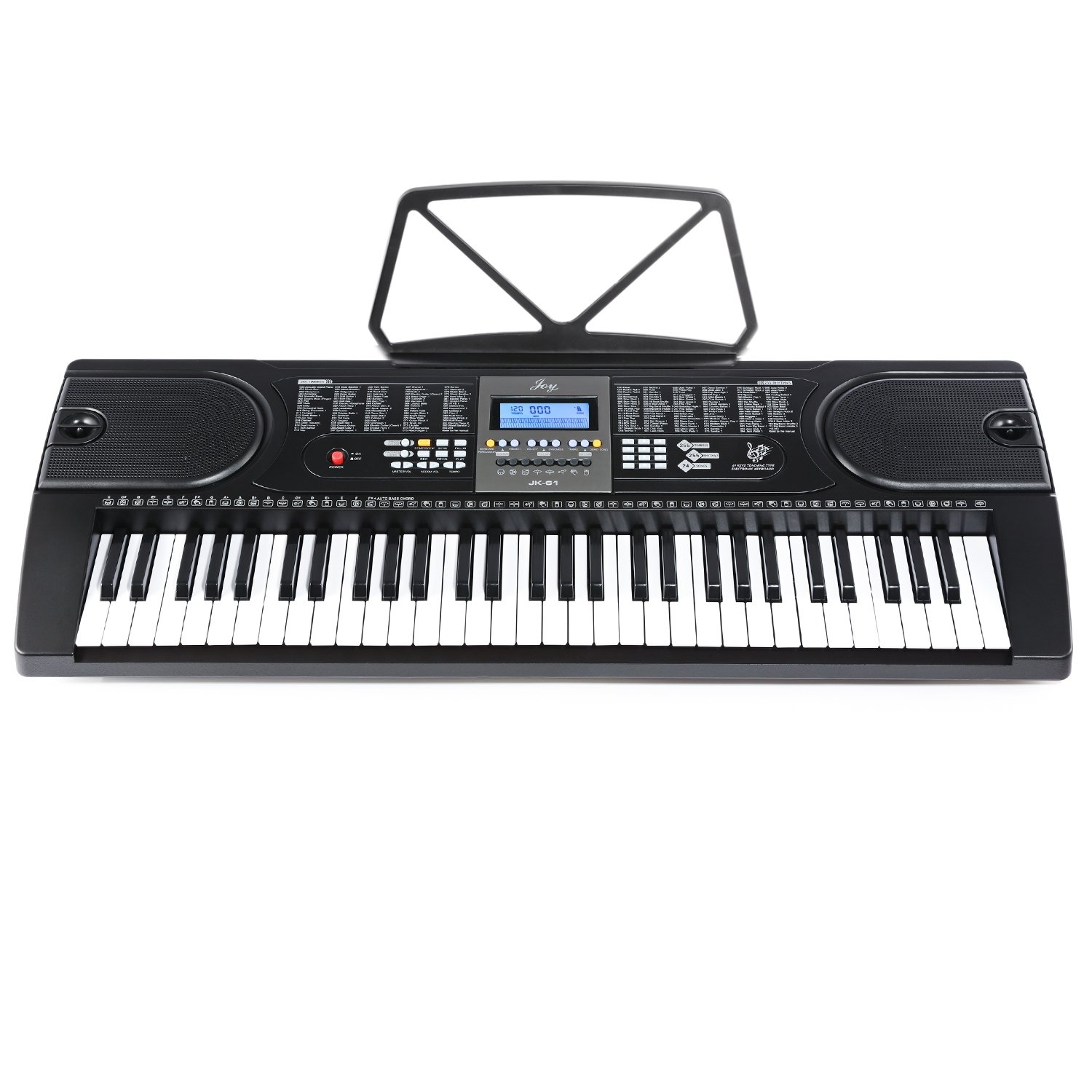 Joy JK-61 61-Key Electronic Keyboard with Power Supply and Music Stand
