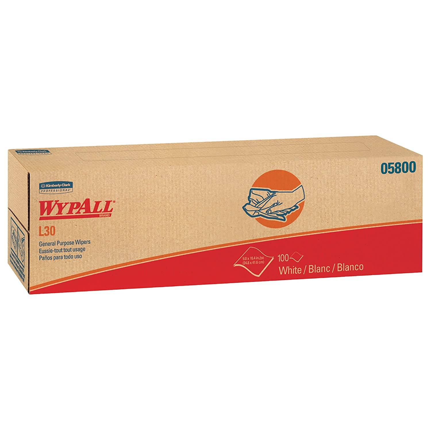 Wypall L30 DRC Towels 05800 Strong and Soft Wipes White 100 Sheets Pop Up Box 8 Boxes Case 800 Wipes Case