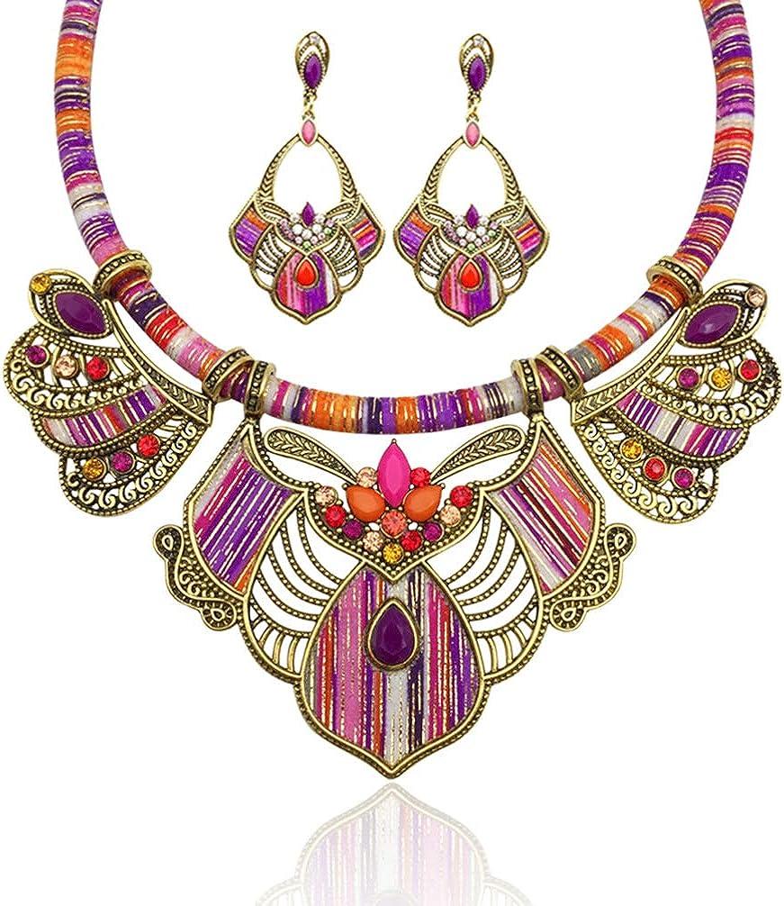 PRETYZOOM Collar Gargantilla Babero Y Aretes Colgantes Estilo Boho Joyería de Moda Collares para Mujeres