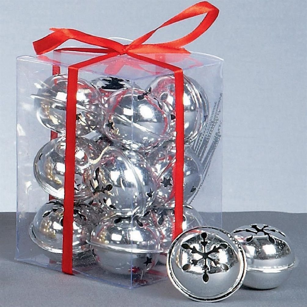 Christmas Decoration 12 Pack Snowflake 40mm Jingle Bell Baubles - Silver Unbrand