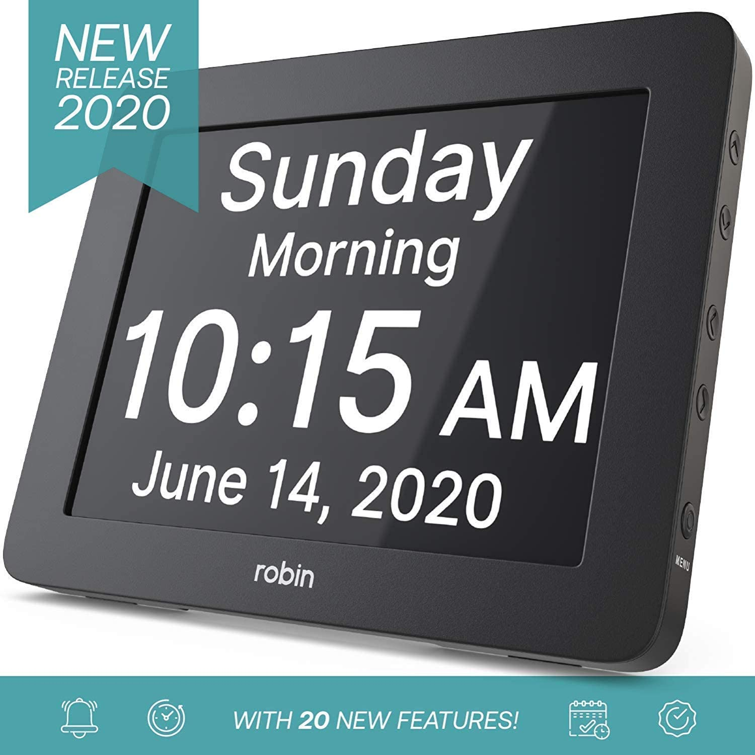Robin, 2020 Version, Digital Day Clock 2.0 with Custom Alarms and Calendar Reminders, Alarm Clock with Extra Large Display Helps with Memory Loss, Alzheimer's and Dementia, Black