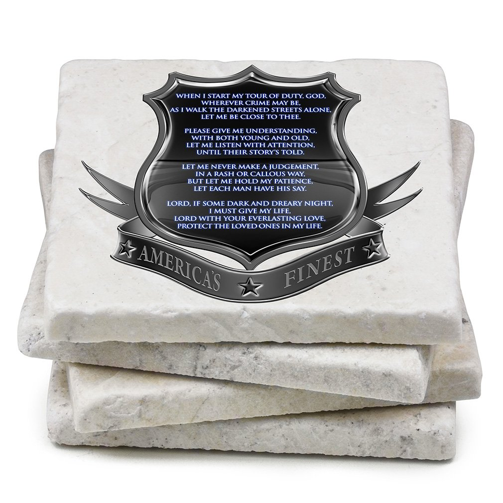 c4c33f4a412 Natural Stone Coasters – Police Gifts for Men or Women – Police Law  Enforcement Beverage   Beer Coasters – Policeman s Prayer Gift Box (Set of  4)