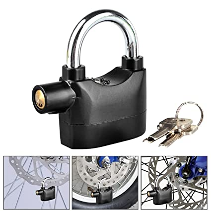 AEXiVE Universal Alarm Padlock 110db Siren Heavy Duty Security Alarm Lock for Bicycle Motorcycle Door Gate Bike Shed Bolt Chain Lock