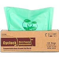Cycluck 120 Bolsas 6L Bolsa de Basura ecológica 100% Biodegradable y Compostable, con EN 13432 Hecho de Almidón de Maíz…