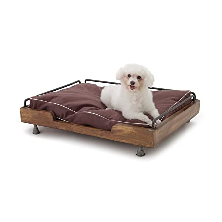 Priti Industrial Design Pets Bed for Dogs Cat Puppies in Iron Leg Wooden Frame and Washed Canvas Cover 32