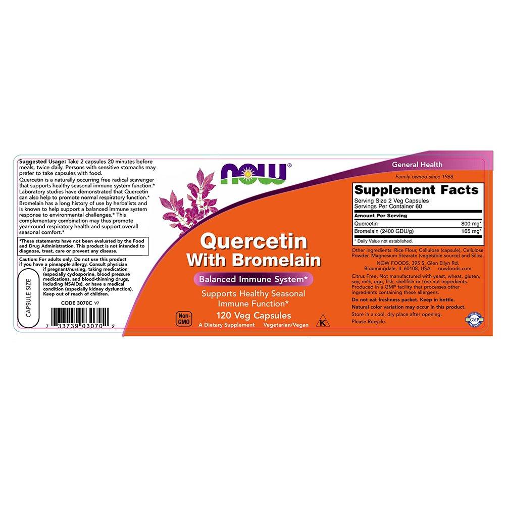 Now Foods - QUERCETIN W/BROMELAIN - 120 veg caps: Amazon.es: Alimentación y bebidas