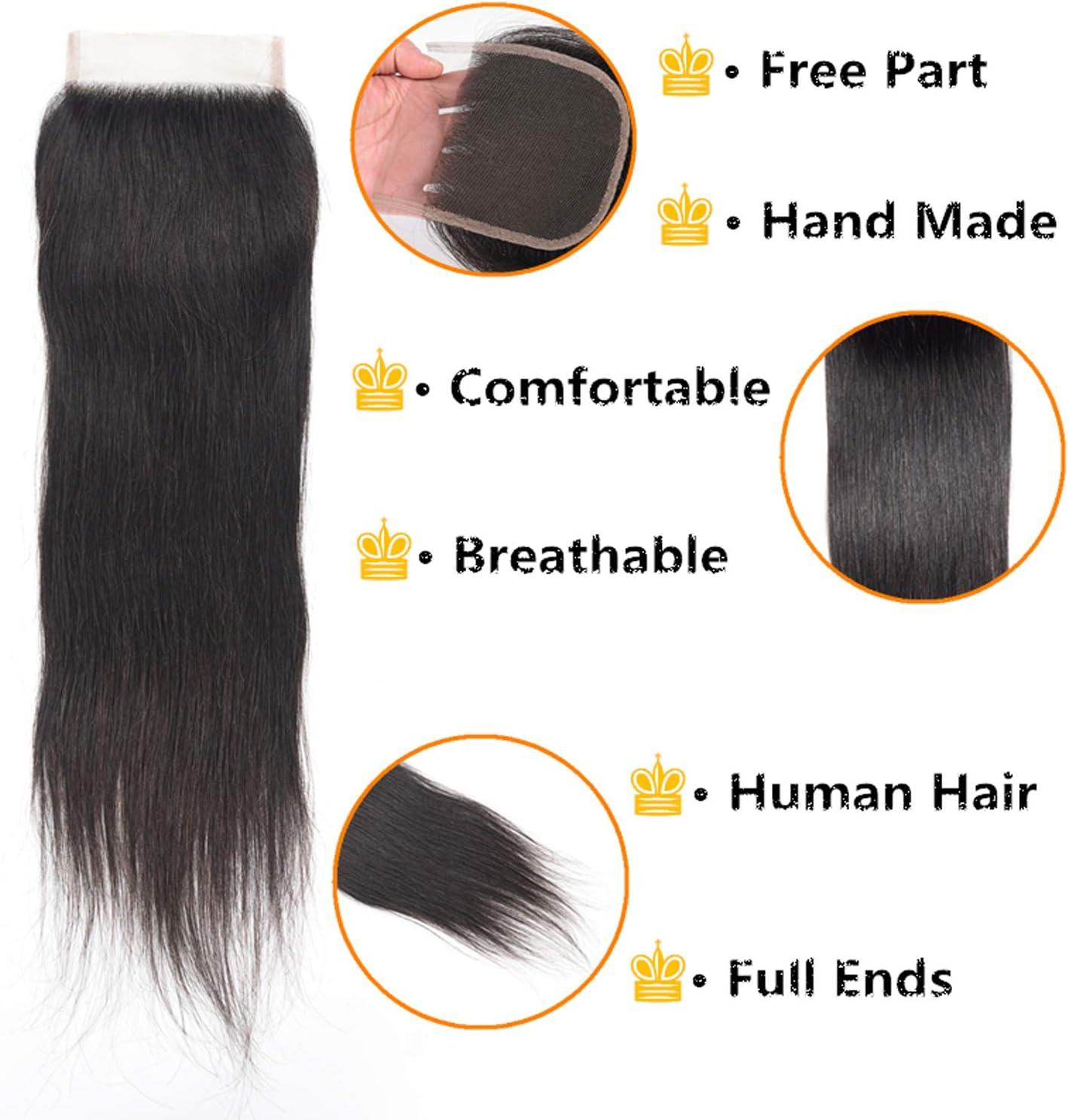 Ali Rain Brazilian Hair Bundles Straight Human Hair Bundles With Closure Unprocessed Virgin Hair 3 Bundles With Lace Closure 270g Natural Color 8 10 12 8 Free Part Amazon Co Uk Beauty