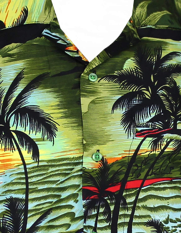 V.H.O Funky Hawaiian Shirt for Men Shortsleeve Front-Pocket Casual Button Down Surf
