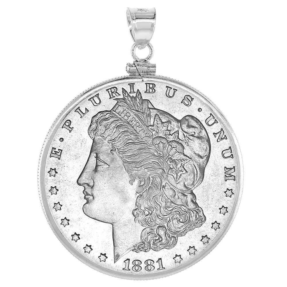 Sterling Silver Dollar Bezel 38 mm Screw Top Coin Edge Mexican Olympic One Dollar
