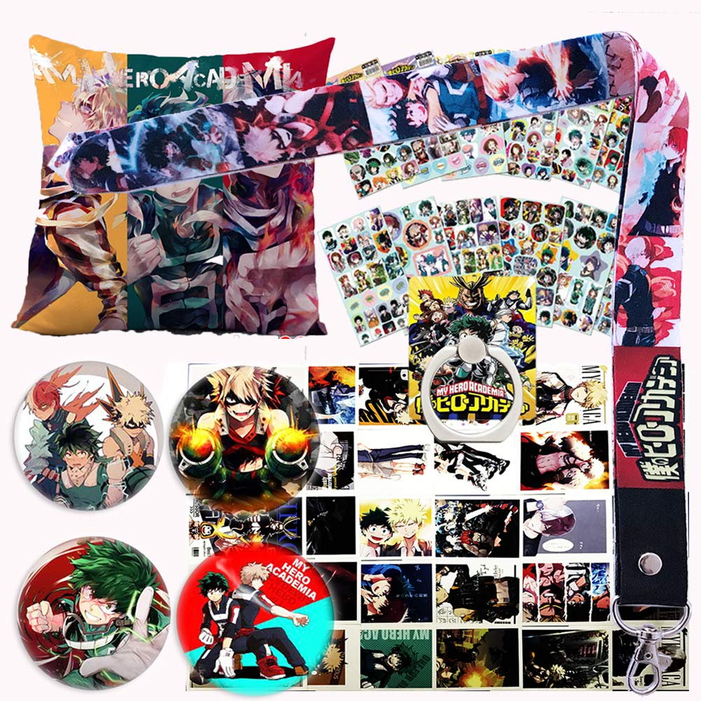 My Hero Academia Pillow Cover Stickers Gift Set - 1 MHA Pillow Case, 12 Stickers, 30 Postcards, 4 Button Pins, 1 Lanyard, 1 Phone Ring Holder for Anime MHA Fans by Rehero