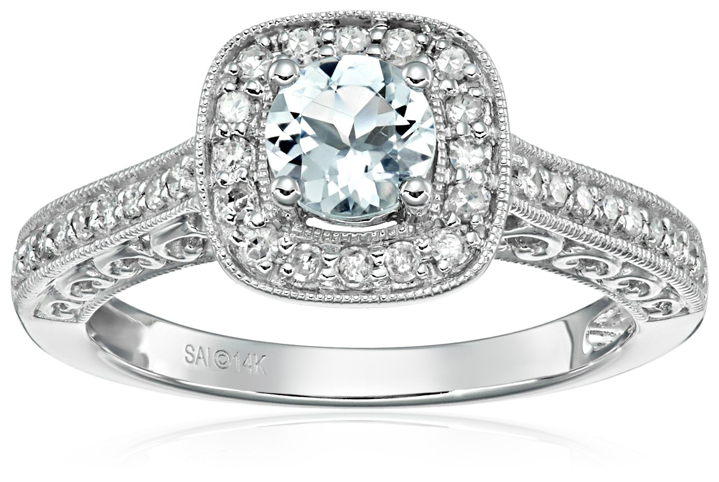 14k White Gold Aquamarine and Diamond Ring (1/4 cttw, H-I Color, I2-I3 Clarity), Size 8 by Amazon Collection (Image #1)