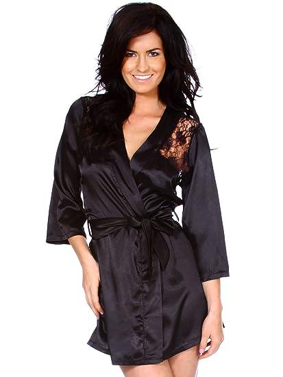 7c8d79fe8f Simplicity Lingerie Black Satin Nighty Gown Robe Mini Dress Sleepwear Belt