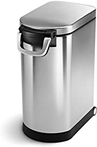 simplehuman 30 Liter, 32 lb / 14.5 kg Large Pet Food Storage Container, Brushed Stainless Steel for Dog Food, Cat Food, and Bird Feed
