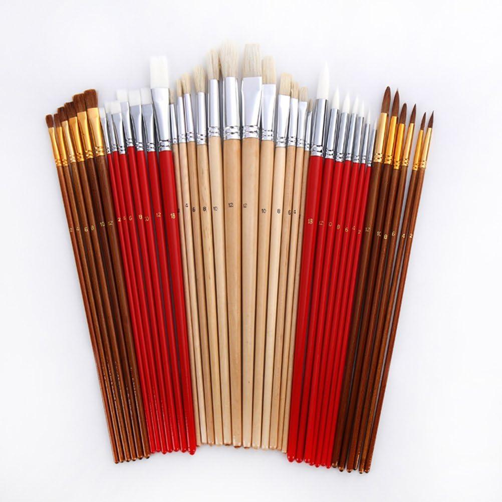 PIXNOR Ensemble de 38 peinture pinceaux artiste pour la peinture acrylique aquarelle huile avec support de toile