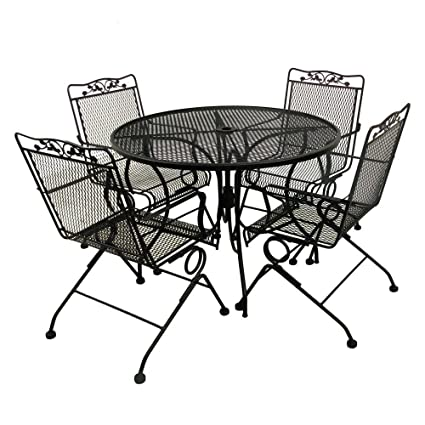 Brilliant Amazon Com Glenbrook Black 5 Piece Patio Dining Set Garden Gmtry Best Dining Table And Chair Ideas Images Gmtryco