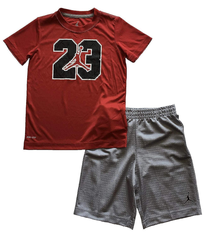 Jordan Jumpman 23ロゴLittle Boys 2つ2 Piece Teeシャツとショーツセットレッドグレーサイズ6、7 7 (6-7yrs)  B0713YZRV7
