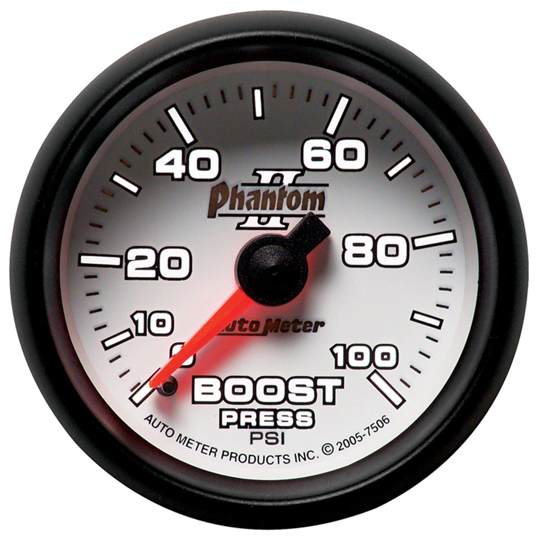 Auto Meter 7506 Phantom II 2-1/16'' 0-100 PSI Mechanical Boost Gauge
