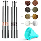 Salt and Pepper Grinder Set Easy Thumb Push Operation Stainless Steel Manual with Brush and Silicone Portable Funnel 4pcs,Unique Gifts