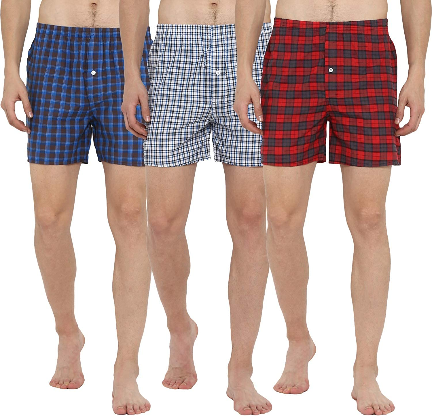 Lucky Roger Mens Checked Boxers