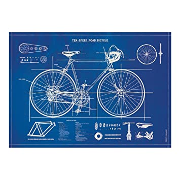 Cavallini bicycle blueprint wrapping paper amazon office cavallini bicycle blueprint wrapping paper malvernweather Image collections