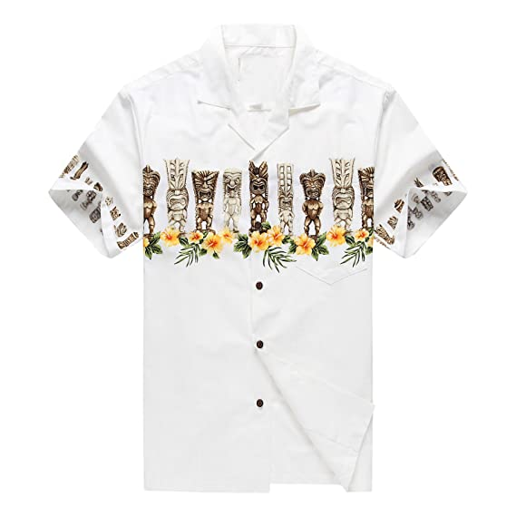 2f627a6a Made in Hawaii Men's Hawaiian Shirt Aloha Shirt Tiki Cross White ...