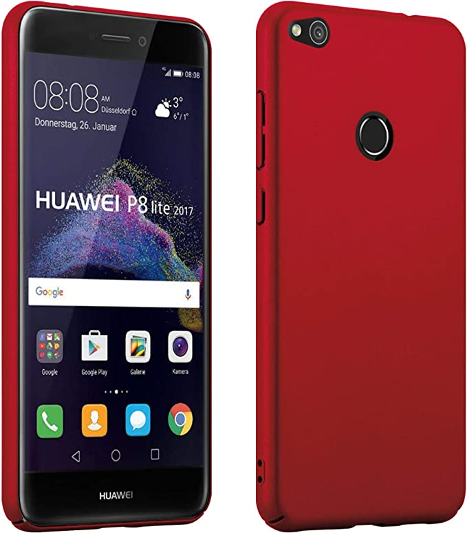 Cadorabo Case works with Huawei P8 LITE 2017 in METAL RED - Shockproof and Scratch Resistent Plastic Hard Cover - Ultra Slim Protective Shell Bumper ...