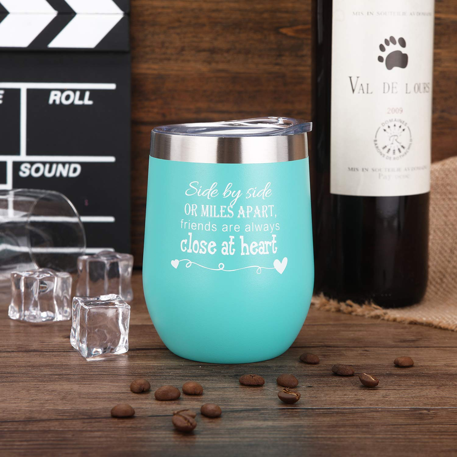 Side By Side or Miles Apart,Friends Are Always Close at Heart Wine Tumbler,Mug,Birthday Day Best Friends,Long Distance Friendship Gifts Mint Green