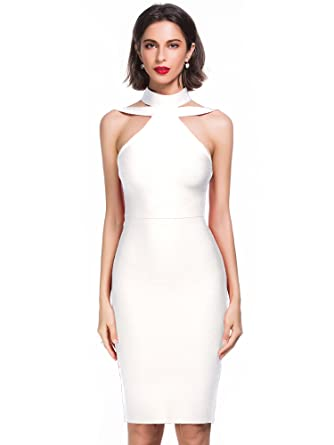 Alice   Elmer Women s Rayon Halter Cut Out Party Bodycon Bandage Cocktail  Evening Clubwear Club Dress 480c634f2