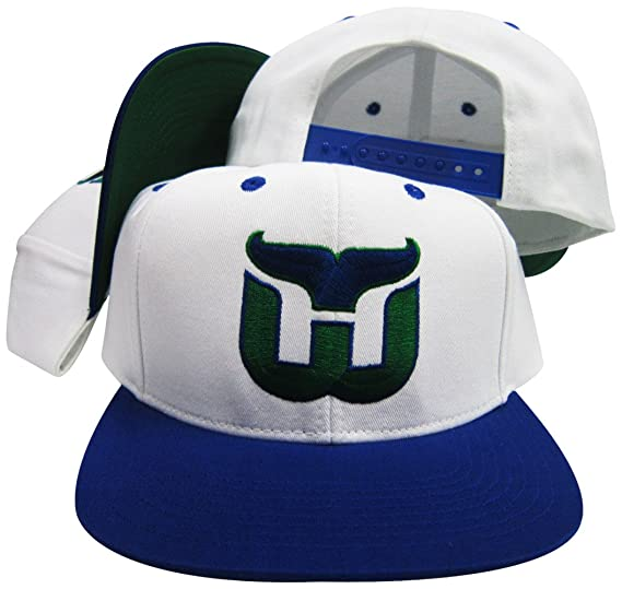 4d6ec20021b Amazon.com  Reebok Hartford Whalers White Blue Adjustable Vintage Snapback  Cap  Clothing