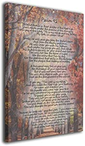 MFHS Psalm 91 Forest Photo Christian Bible Canvas Print Art No Frame To Hang Home Decor Wall Decor, Canvas Print Wall Art Oil Painting Living Room Dining Room Bedroom Home Office Modern 16x20in