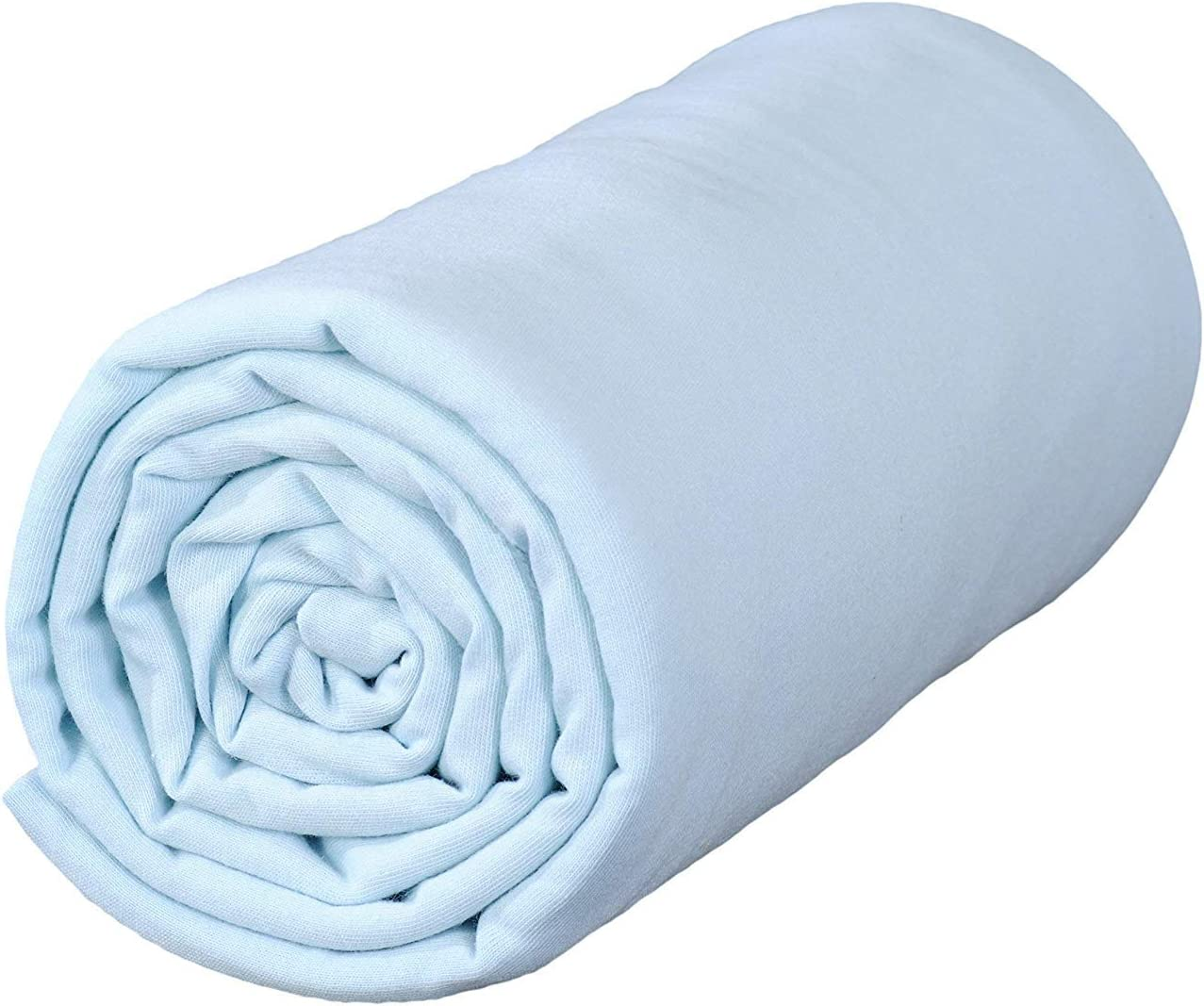 70x140 cm 100/% Organic Cotton Off-White//Blue Ptit Basile High Quality Combed Cotton Lot of 2 cot Bed Jersey Fitted Sheets