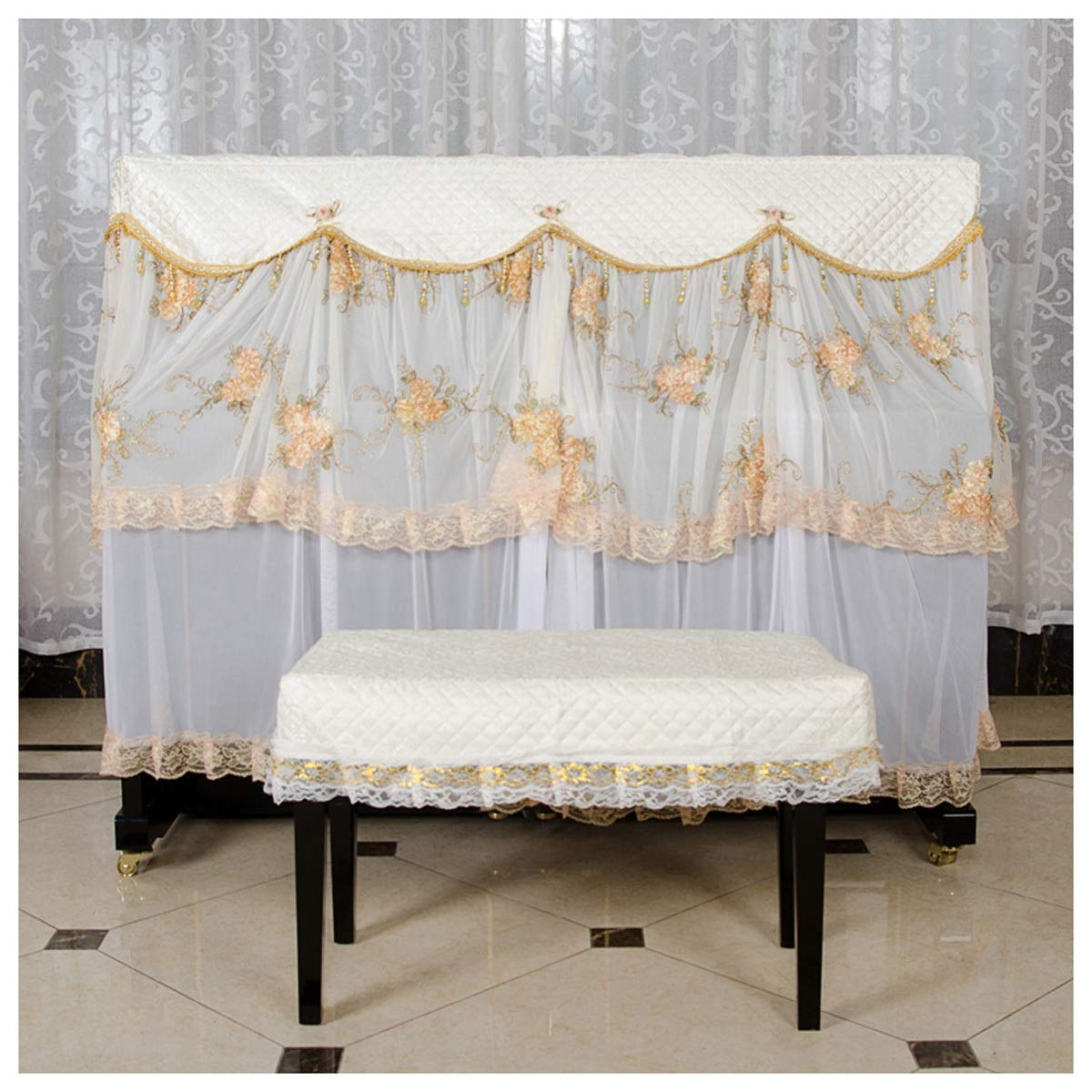 HongTeng Piano Cover Dust Cover Full Cover for Standard Upright Piano Support Custom with Stool Cover