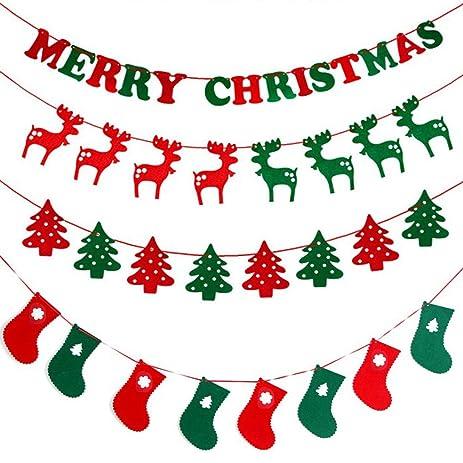 4pcs christmas fabric felt hanging buntings garland banner string party flag decor - Felt Christmas Garland