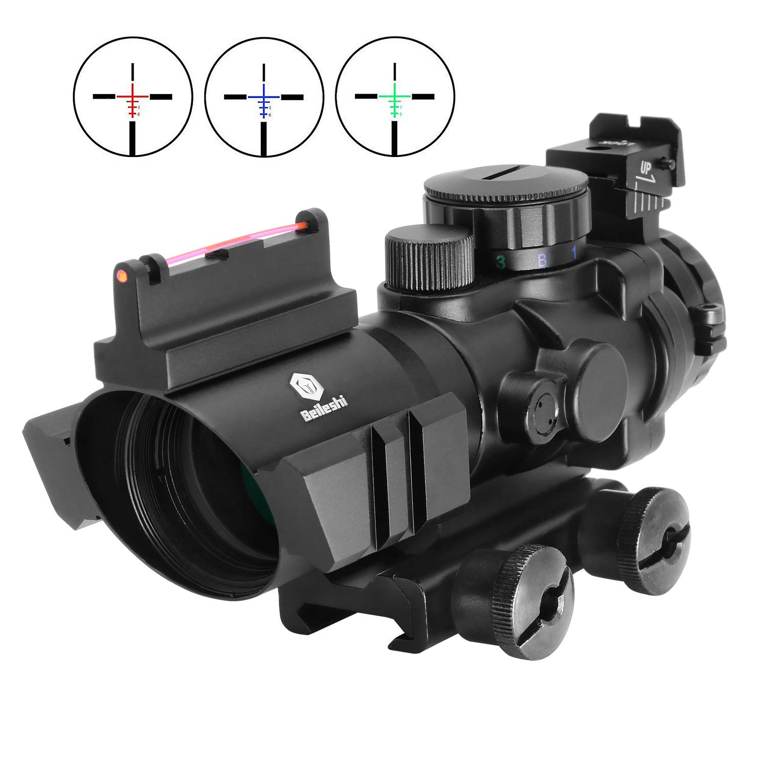 Beileshi Rifle Scope 4x32 Red/Green/Blue Triple Illuminated Rapid Range Reticle Scope with Top Fiber Optic Sight and Weaver Slots by Beileshi